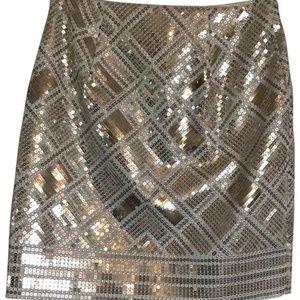 Gold Silver Bronze Sequin Skirt 8 Mini A-line WHBM